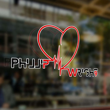 HeartBeat Icon - Window Decal in Memory of Phillip Wright