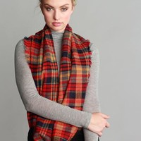 Penelope Red Plaid Pattern Frayed Edge Infinity Scarf