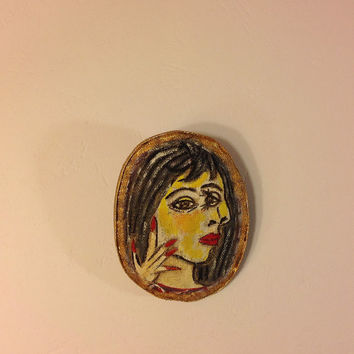 Hand painted brooch Textile brooch Pablo Picasso Brooches Gift brooch Fabric brooch Art brooch Cloth fabric Fashion brooch Woman portrait