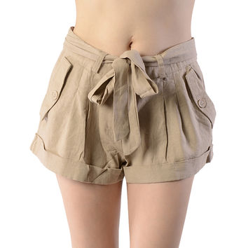Tie Up Linen Shorts