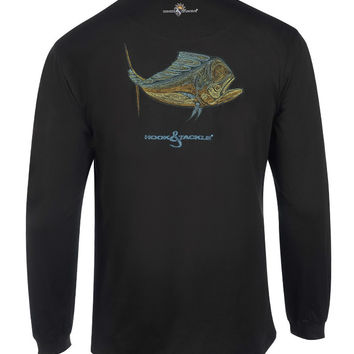 Men's Dolphin Embroidery L/S UV Fishing T-Shirt