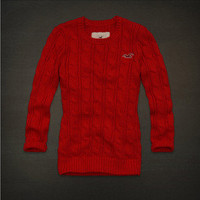 NWT Hollister by Abercrombie Women's Cabled Sweater Red M