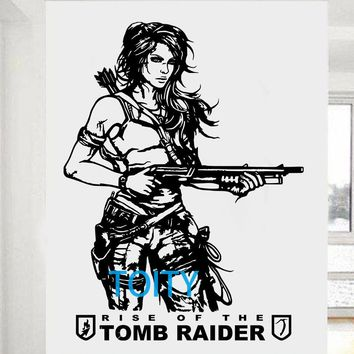 Tomb Raider Wall Sticker Lara Croft Vinyl Art Decal Video Game Poster Home Interior Bedroom Dorm Decor Boys Room Mural