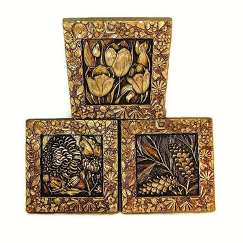 Gold Syroco Flower Floral Wall Decor Plaques Set of 3 Vintage