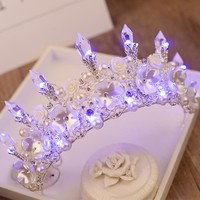 2017 New Baroque Handmade LED Tiara Women Crystal Floral Headdress Pearls Rhinestone Light Crowns Wedding Hair Accessories HG126
