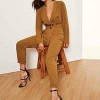 Notched Collar Double Button Plunging Utility Jumpsuit
