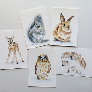 Watercolor Woodland Animals ACEO Set of 5