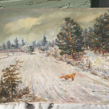 fox painting, oil painting, 1940s painting, original art, German art, original painting, fox painting, snowy landscape, vintage art,