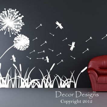 Dandelions Dragonflies And Cattails Vinyl Wall Decal Sticker