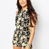 ASOS | ASOS Floral Print Cut Out Back Shirt Beach Romper at ASOS