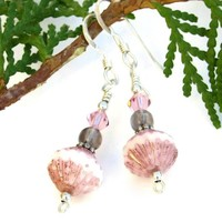 Pink Czech Glass Smoky Quartz Handmade Earrings Swarovski Jewelry OOAK