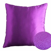 "Bright Violet Purple 16"" x 16"" Decorative Solid Satin Square Throw Pillow Cases Cushion Covers Textured for Couch Sofa Bed"