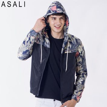Flower Printed New 2016 Jacket Men Fashion Casual Loose Outwear Mens Jacket Sportswear Bomber Jacket Mens jackets and Coats J50