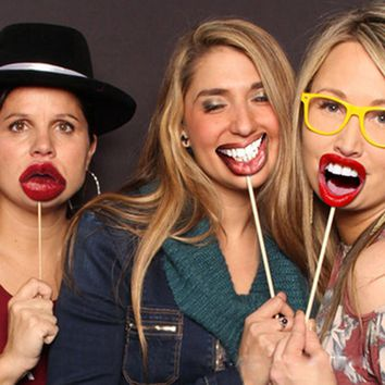 Fun Lip Mouth Photo Booth Prop Kit  20 pcs