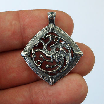Targaryen jewelry, Game of Thrones, House Targaryen, Targaryen necklace, Targaryen pendant, Dragon necklace, Silver necklace, Silver 925
