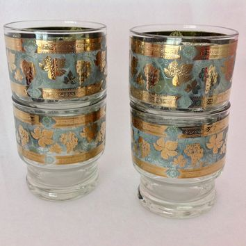 Cera Glass Golden Grapes Mid Century Stacking Old Fashioned Tumblers - Set of Four