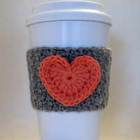 Crochet Heart Coffee Cup Cozy Coral and Gray