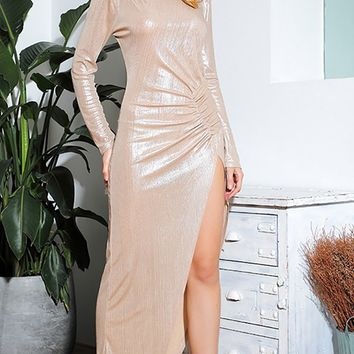 It's Never Enough Beige Metallic Long Sleeve Round Neck Ruched Keyhole Back Side Slit Maxi Dress