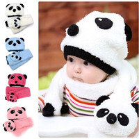 Toddler Infant Girls Boys Baby Hats Caps Scarf Beanie Panda Animal Winter 1-3Y W = 1957948996