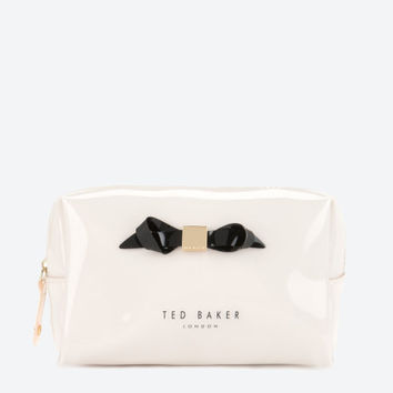 Small slim bow cosmetic bag - Cream | Gifts for Her | Ted Baker