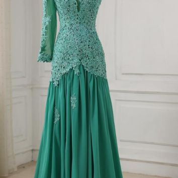 A-line Long Evening Dress Party Elegant Lace Applique Long Chiffon Prom Gown