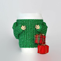 Christmas cup sweater. Secret Santa gift. Travel mug cozy. Knit mug hug. Office coffee cozy. Holiday cup sleeve. Green starbucks cup holder