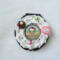 kawaii compact mirror, cute compact mirror, lolita accessories, kawaii accessories,Hello Kitty accessory, girly compact mirror, Hello Kitty