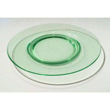 Green Depression Glass Lunch Plates, Set of 6 Salad Plates, Cambridge Glass Dessert Plates