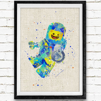 Benny Lego Man Watercolor Print, Lego Minifigure Baby Nursery Decor, Wall Art, Home Decor, Gift Idea, Not Framed, Buy 2 Get 1 Free!