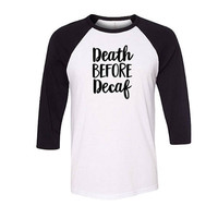 Death before Decaf Baseball Raglan Shirt, Coffee Shirt