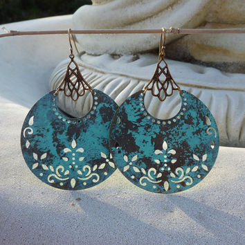 Reserved  Verdigris Boho  Floral Earrings by lunarbelle on Etsy