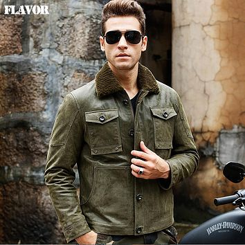 Men's real leather jacket green jackets Genuine Leather jacket fur collar men warm leather coat bomber jacket