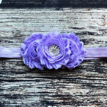 Fancy Purple Shabby Rhinestone Headband