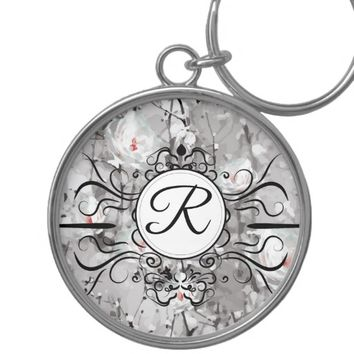 Ice rose print monogram keychain