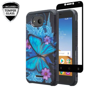 Alcatel Tetra Case, [Include Temper Glass Screen Protector] Slim Hybrid Dual Layer [Shock Resistant] Case for Alcatel Tetra - Blue Butterfly