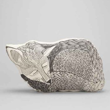 The Rise And Fall Sleeping Fox Pillow- Black & White One