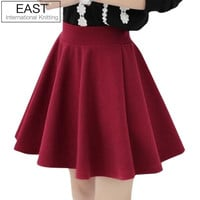 women high waist pleated skirts 2013 new fashion Black candy color skirt S M L XL plus size Skirt
