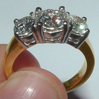 3.35 Ct. diamonds 3 stone ring two tone gold ring new