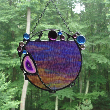Abstract suncatcher round panel stained glass modern contemporary funky geode purple blue window art