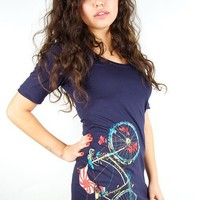 Bicycle Dress American Apparel Navy Cycling Fish S