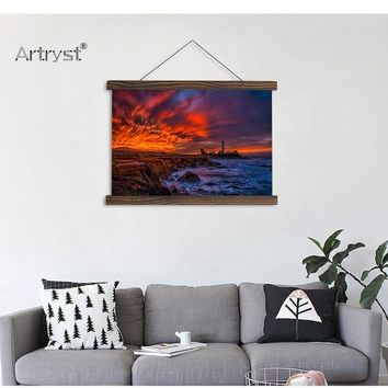 HD Sunsets Coast Clouds Canvas Painting