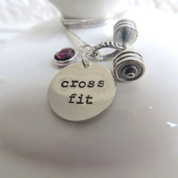 "Silver CrossFit necklace with sterling silver hand stamped ""cross fit"" charm, barbell charm and Swarovski birthstone charm of your choice"