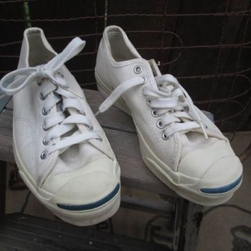 Vintage Jack Purcell Converse White canvas sneakers Vintage 70s tennis shoes Made in USA 6