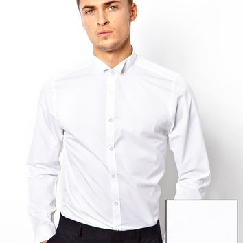 ASOS Smart Tux Shirt In Long Sleeve With Wing Collar
