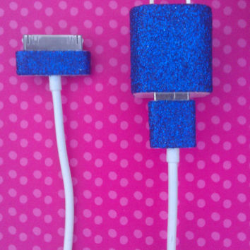 Dark Blue Glitter iPhone Charger