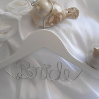 Bridal Hanger one Line, Custom Bridal Hanger, Brides Hanger, Name, Wedding Hanger, Wedding Dress Hanger, Shower, Bride white hanger.