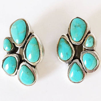 Barse Sterling Silver Turquoise Clip On Earrings, Vintage Southwest Designer Jewelry
