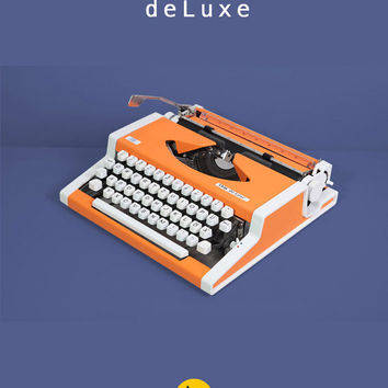 1970s Unis tbm deLuxe Typewriter. Excellent working condition. Portable. Pop orange color. Remarkable design. Case.