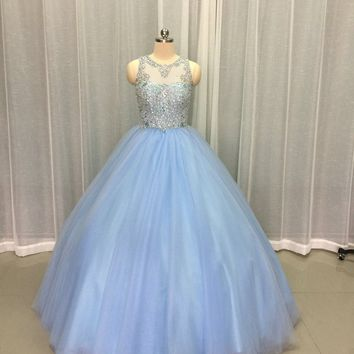 Real Photo Stunning Light Blue Tulle Quinceanera Dresses Scoop Heavy Beaded Crystal Sleeveless Ball Gown Prom Dress Custom Made