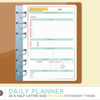 A5 DAILY PLANNER Printable  - Printable A5 Planner Inserts - fits Filofax A5 & Kikki K Large - Stationery Theme